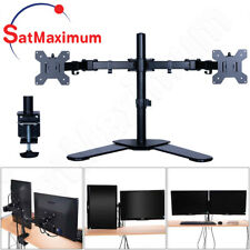 "Dual Monitor Desk Stand Adjustable Mount Tilt 2 Computer Screens 10""- 27"""