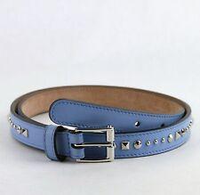 127215eafa4  495 New Gucci Studded Light Blue Leather Skinny Belt 90 36 380561 4503