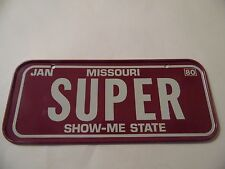 Vintage Jan 1980 Cereal Mini Bicycle License Plate Missouri Show Me State Super