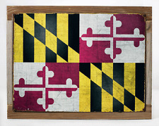 Maryland State Flag Metal Sign Framed on Rustic Wood, Americana, Rustic Décor