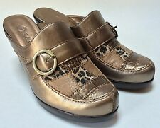 Bella Vita Metallic Copper Leaopard Print Swatch Heels Mules Shoes Size 9 1/2 W