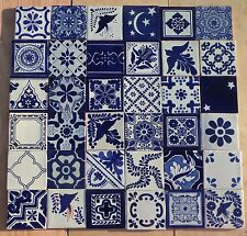 """36~MEXICAN TALAVERA POTTERY 4"""" tile Hand Painted MURAL COBALT BLUE & WHITE"""