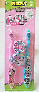 Kids LOL Surprise  2 Pk Manual Toothbrushes & Caps  3 Yrs + New Free P+P