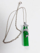 """Green Jade Stick in 18K White Gold Plated Dragon Pendant & chain Necklace 18""""L"""