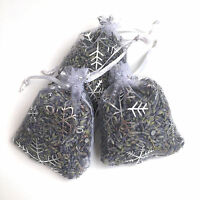 3 High Quality Kent Lavender Hand Made 7x9 White/Silver Snow Flake Organza Bags