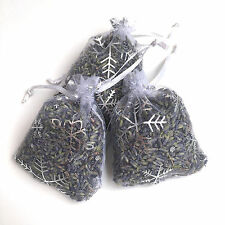 3 High Quality Kent Lavender Hand Made 7x9 White/Silver Snow Flake Organza Bags