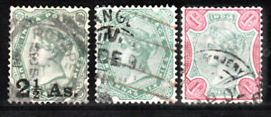 INDIA 1891-92 QV VICTORIA DEFINITIVE 3 VALUES TO 1R SCOTT 47-49 USED