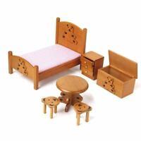 1/12 Puppenhaus Miniatur Moebel fuer Kinder Holz Schlafzimmer Holz Farbe X8L8
