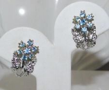 Vintage Silver tone Sky Blue Sparkling Rhinestone Flower Clip on Earrings 1e 100