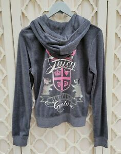 Juicy Couture Women's Heather Grey  W/ Pink & Silver Graphic Hoodie Zip XL NWT