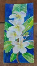 """Hello Plumeria"" Frangipani Original Watercolor RAMfish Artist Hawaii Flower"