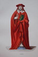 GRAVURE-CARDINAL DU XVe SIECLE-COSTUMES MOYEN AGE 1847-ANTIQUE  PRINT