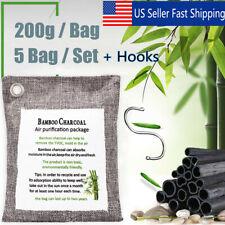5P Car Bamboo Charcoal Bag Air Purifier Deodorizer Natural Freshner Odor + Hooks