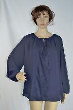 New INC INTERNATIONAL CONCEPTS Navy Blue Lace Applique Chiffon  Blouse Size 16W
