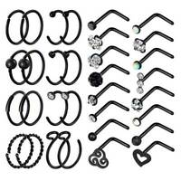32PCS 20G CZ Nose Hoop L-Shaped Studs 316L Stainless Steel Ear Lip Riercing Ring