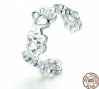 Fashion 925 Sterling Silver Adjustable Ring Cat Dog Paw Trail Ring For Women New