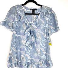 Marc Jacobs Blue White Ruffle Cotton Silk Blouse Women's Sz 4 $228 NWT