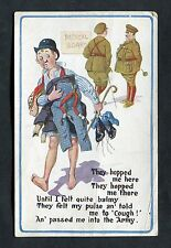 "C1916 Comic/Illustrated Card ""Medical Board"" - Cough & into the Army."