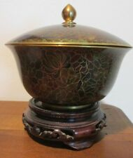 Vintage Cloisonne Covered Bowl with Stand Bronze colors