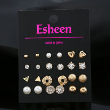 12Pairs Women GOLD Fashion Pearl Crystal Heart Stud Triangle Earring Set Jewelry