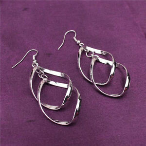 Fun New Silver White Gold Plated Double Twisted Oval Dangle Drop Earrings