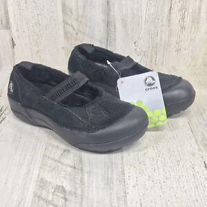CROCS Dawson Mary Jane Girl's Shoes - Black  Suede & Fur - Size J2 - NWT