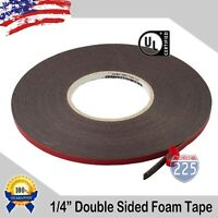 """1/4"""" Wide Double Sided acrylic Foam High Strength Adhesive Tape 60 Foot Roll USA"""