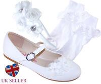 Girls Childrens White Ballerina Shoes Flower Girl Bridesmaid Communion Socks Set