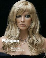 Glamorous Long Natural Wavy Wig Golden Blonde Mix Full Bangs JSPP 24-613