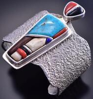 Vintage Silver & Turquoise Navajo Tufacast Bracelet Lyndon B. Tsosie C1915J