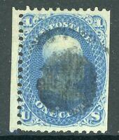 USA 1867 Franklin 1¢ Blue Scott # 86 E Grill (11x13) VFU B714 ⭐⭐⭐⭐⭐⭐
