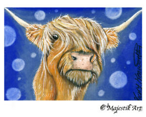 """Archival ACEO Print Highland cattle Cow Animal Fantasy """"Moo"""" By V Kenworthy"""