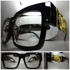 CLASSIC VINTAGE RETRO Clear Lens EYE GLASSES Thick Black Fashion Frame Gold Logo