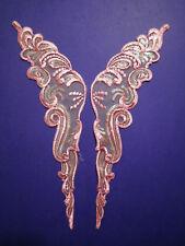"""14"""" Venise Lace Pink Organza Sequins Appliques 12pcs 6 Pair"""