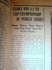 6 1937 Baseball World Series newspapers NY YANKEES defeat NY GIANTS in 5 games