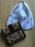 Coach Wallet Tri-Fold Signature C Canvas Brown Leather & Dust Bag