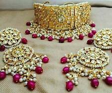 Red Bead Bollywood Women Gold Tone Kundan Choker Necklace Set Bridal Jewelry