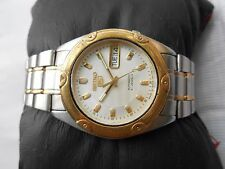 RARE VINTAGE SS SEIKO 5 2 TWO TONE SILVER DIAL MENS D/DATE AUTOMATIC WRISTWATCH