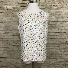 Vintage Handmade Sleeveless Shirt Top Paw Print 70s Puppy Colorful Medium