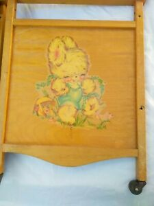 VINTAGE Whitney Bros 50's Baby Doll Wood Crib Cradle w Bunny Decal - Crib  Parts