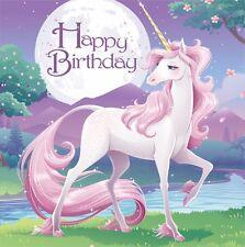 Unicorn Fantasy Paper Napkins X16 Girls Birthday Party Pink Purple Magical