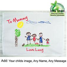 Mothers Day Personalised Tea Towel Child's Drawing Birthday Mum Nan Grandad Dad