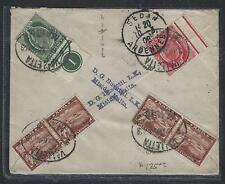 MALTA COVER (P1108B) KE 1/2D CONTROL+1D+1F X 2 PRS 1908 TO FRANCE