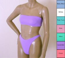 80s 90s High Leg Thong Bikini Bottom and Bandeau Top in 7 Pastel Colors