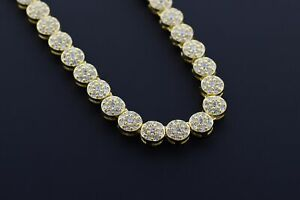"""14K Yellow Gold Plated Sterling Silver Hip Hop Micro Pave Cluster Iced Chain 18"""""""