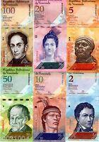 LOT SET SERIE 6 BILLETS VENEZUELA  BOLIVARES 2007 - 2015  UNC NEUF