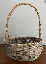 Large Rattan Plant Pot Storage Gift Basket Handle Grey Wash Tiki Boho Christmas
