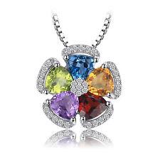 JewelryPalace Genuine Swiss Blue Topaz Amethyst Citrin Granat Peridot Anhänger
