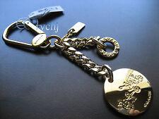 NWT COACH METAL LOGO CHARM KEY FOB KEYRING KEYCHAIN 63661