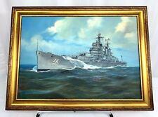 USS Columbus CA-74 Original Framed Oil On Canvass Painting